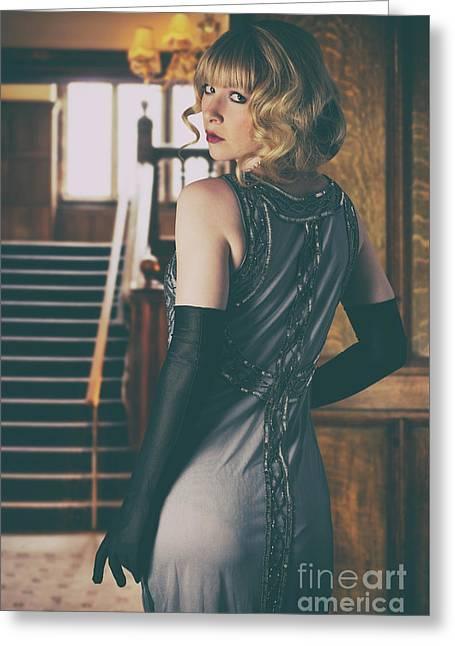 Woman In Twenties Dress Greeting Card