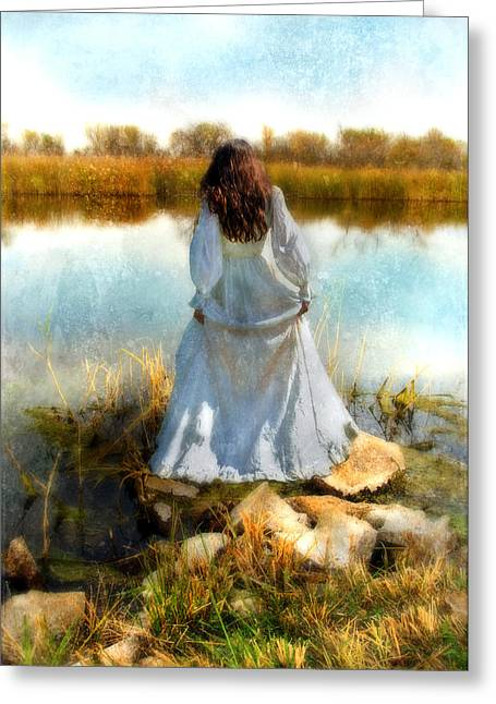 Young Lady Greeting Cards - Woman in Victorian Dress by Water Greeting Card by Jill Battaglia