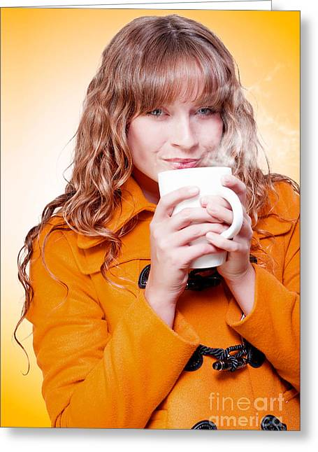 Woman In Warm Winter Coat Sipping Hot Coffee Greeting Card