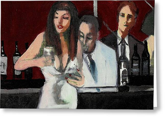 Woman In White Dress Happy Hour Greeting Card by Harry WEISBURD