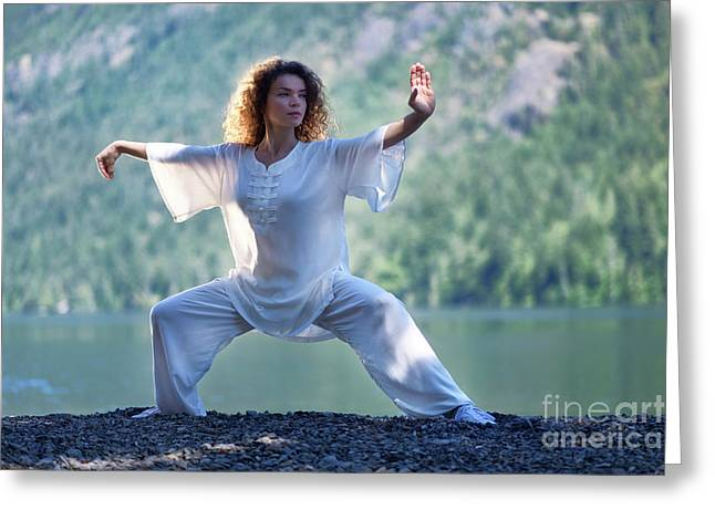 Martial artist greeting cards page 4 of 4 fine art america woman in white outfit practicing tai chi stance by the lake in t greeting card m4hsunfo