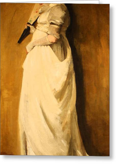 Woman In White Satin Greeting Card by William Merritt
