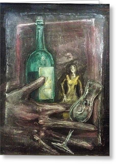 Greeting Card featuring the painting Woman In Yellow Dress by Keith A Link