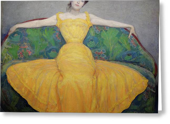 Woman In Yellow Dress Greeting Card