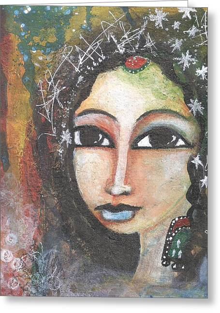 Greeting Card featuring the mixed media Woman - Indian by Prerna Poojara