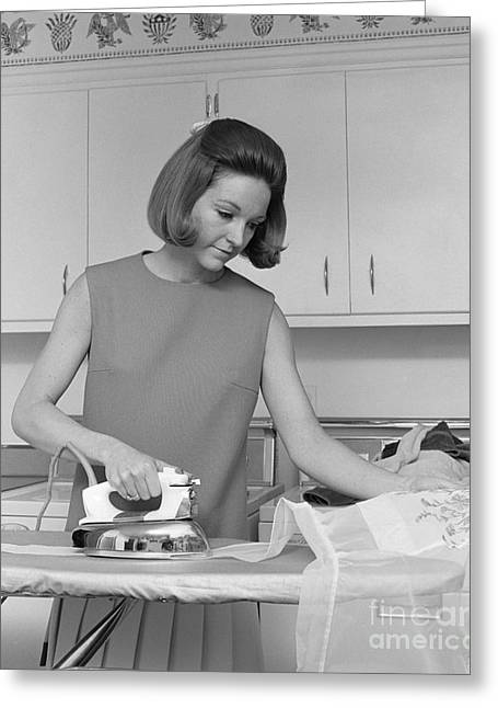 Woman Ironing An Apron, C.1970s Greeting Card
