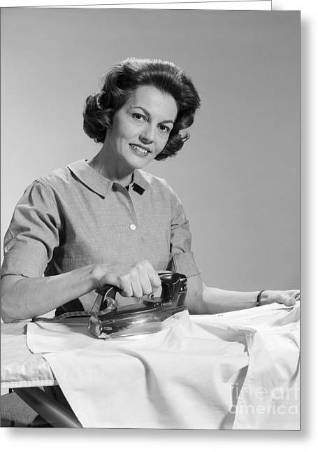 Woman Ironing Shirt, C.1950s Greeting Card
