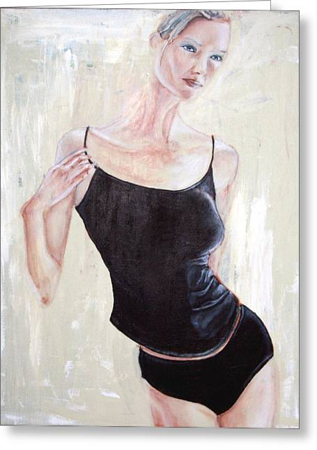 Greeting Card featuring the painting Woman by Keith A Link