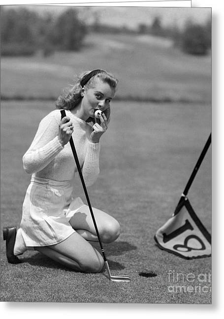 Woman Kissing Golf Ball, C.1950s Greeting Card by Debrocke/ClassicStock