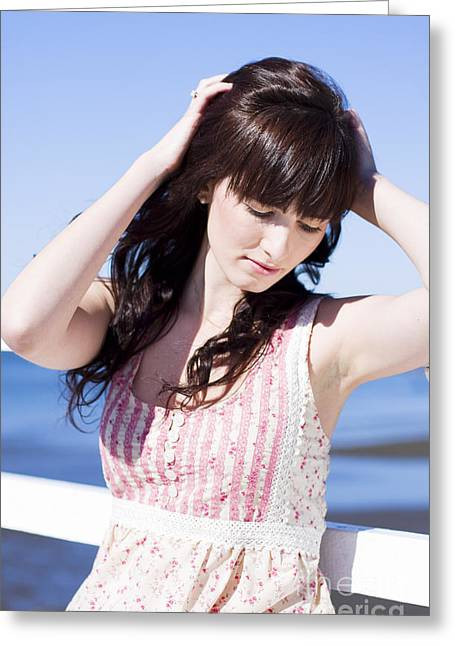 Woman Letting Her Hair Down Greeting Card