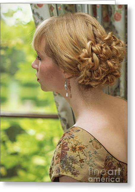 Woman Looking Out Of Window Greeting Card by Amanda Elwell