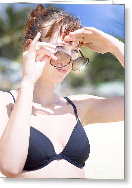 Woman Looking Over Sunglasses Greeting Card by Jorgo Photography - Wall Art Gallery