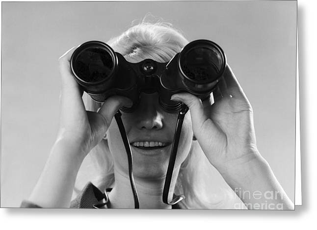 Woman Looking Through Binoculars Greeting Card by H. Armstrong Roberts/ClassicStock