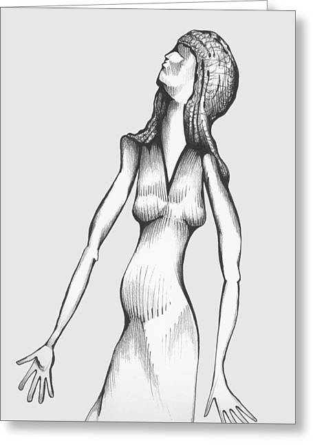 Greeting Card featuring the drawing Woman Looking To The Sky by Keith A Link