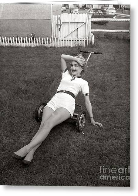 Woman Lounging On Lawnmower, C.1950s Greeting Card by Debrocke/ClassicStock