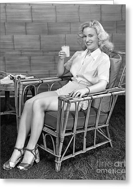 Woman Lounging With Milk, C.1940s Greeting Card by H. Armstrong Roberts/ClassicStock