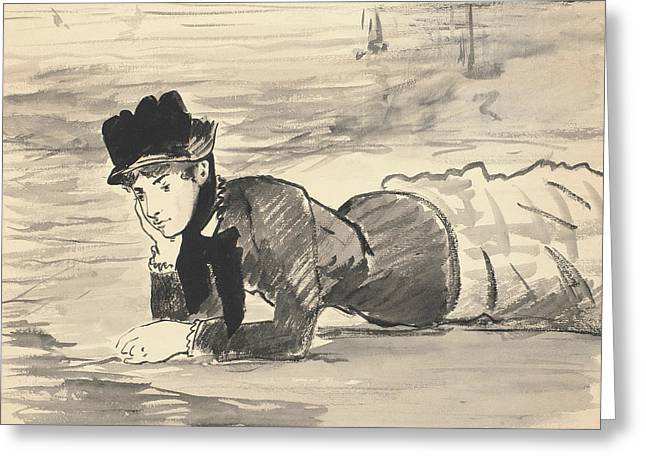 Woman Lying On The Beach Greeting Card