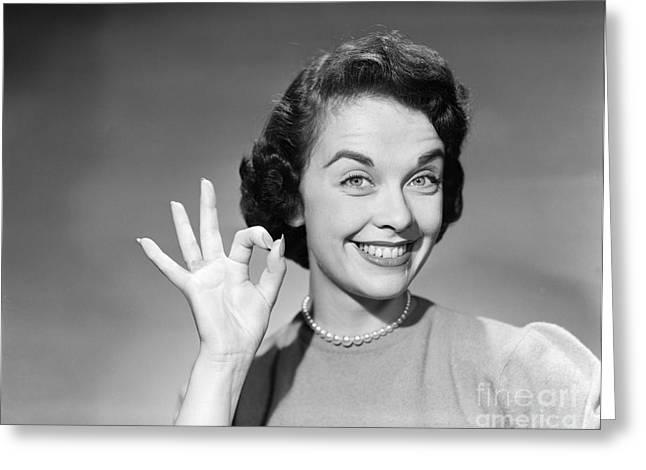 Woman Making Ok Sign, C.1950s Greeting Card
