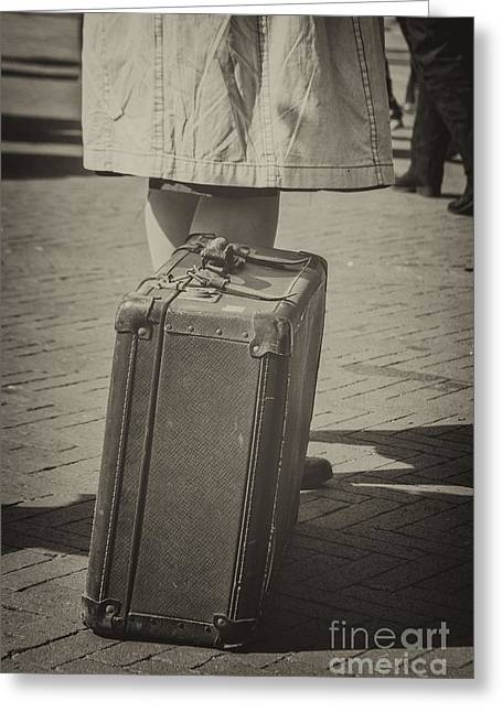Woman Of The 1940's Waiting With Suitcase Greeting Card by Patricia Hofmeester