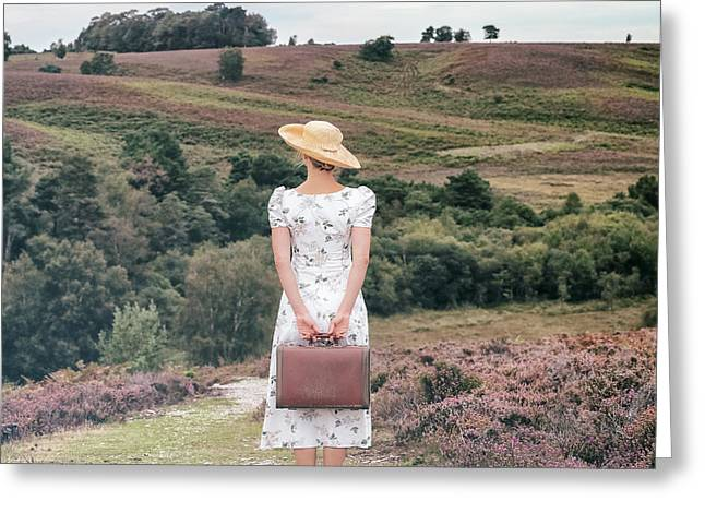 Woman On A Hill Greeting Card