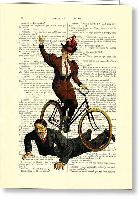 Woman On Bicycle Riding Over Man Greeting Card