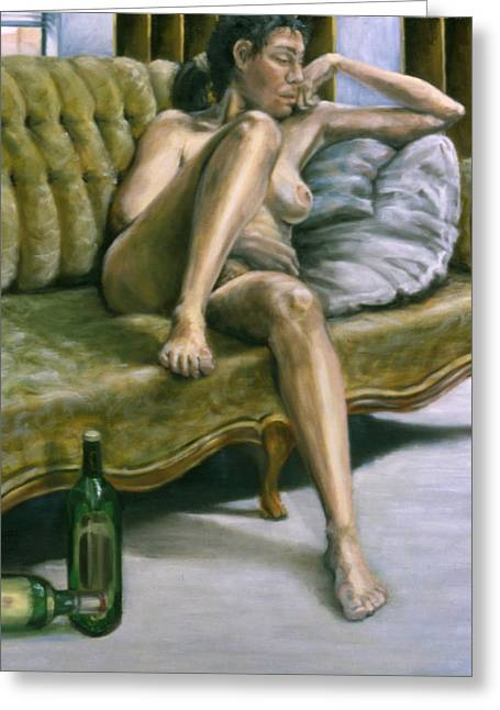 Woman On Green Sofa Greeting Card by John Clum