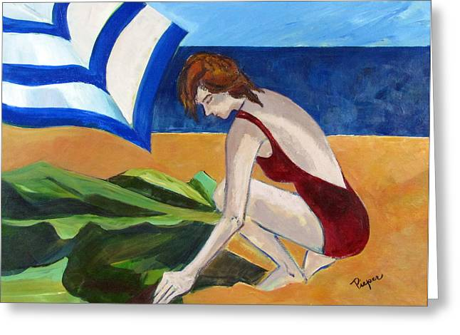 Greeting Card featuring the painting Woman On The Beach by Betty Pieper