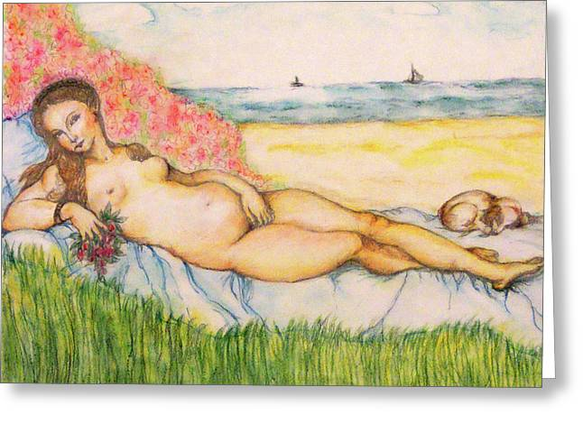Woman On The Beach Greeting Card