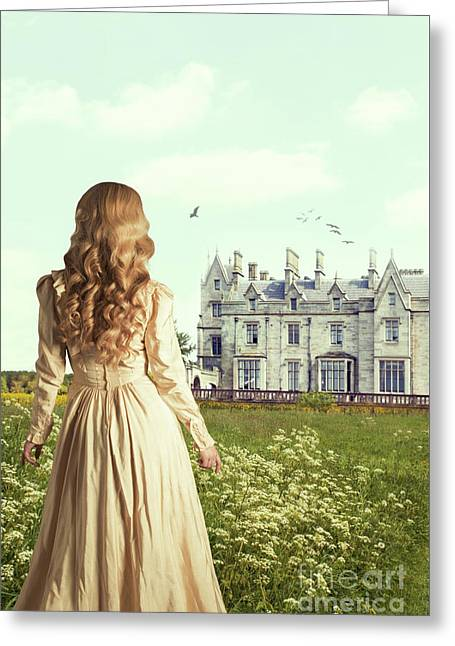 Woman Overlooking Mansion Greeting Card by Amanda Elwell