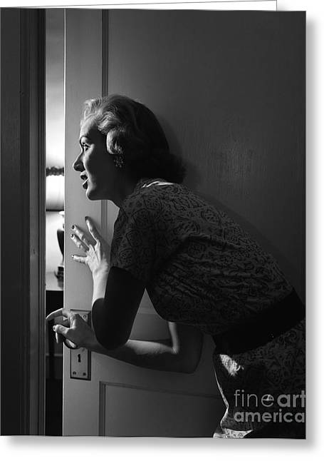 Woman Peeking Through Door, C.1950s Greeting Card by Debrocke/ClassicStock