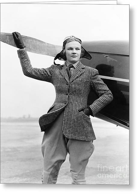 Woman Pilot Greeting Card by H. Armstrong Roberts/ClassicStock