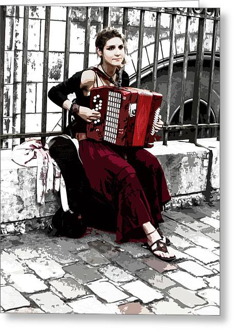Woman Playing Accordion Greeting Card