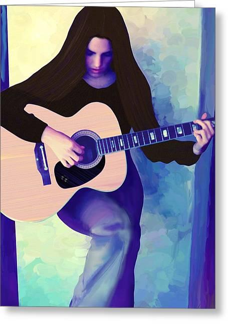 Woman Playing Guitar Greeting Card