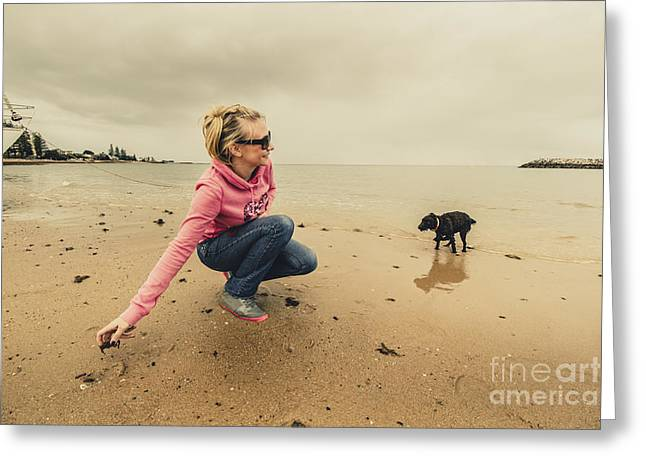 Woman Playing With Dog Greeting Card