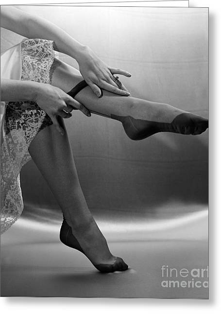 Woman Pulling On Nylons, C.1950s Greeting Card by H. Armstrong Roberts/ClassicStock