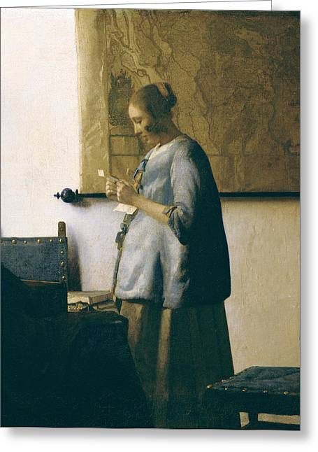 Jackets Greeting Cards - Woman Reading a Letter Greeting Card by Jan Vermeer