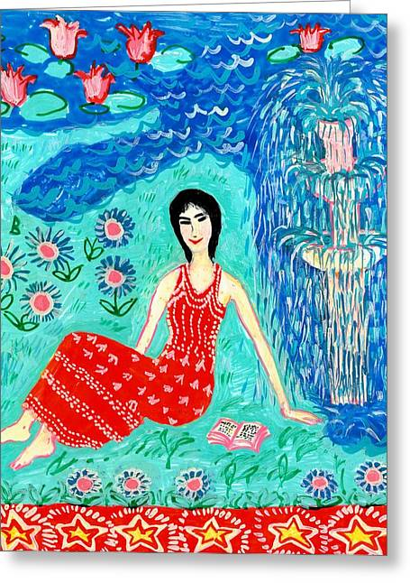 Woman Reading Beside Fountain Greeting Card by Sushila Burgess