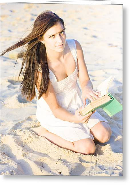 Woman Reading Book Greeting Card by Jorgo Photography - Wall Art Gallery