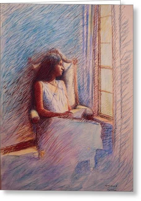 Woman Reading By Window Greeting Card