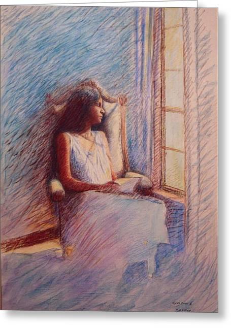 Woman Reading By Window Greeting Card by Herschel Pollard