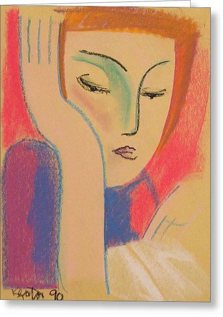 Woman Reading Greeting Card by John Keaton