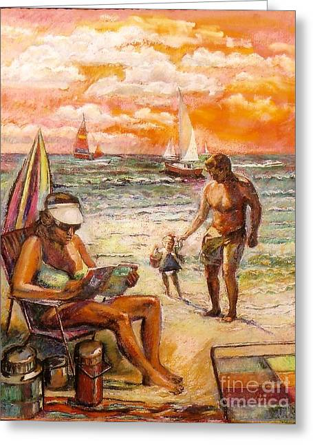 Woman Reading On The Beach Greeting Card by Stan Esson