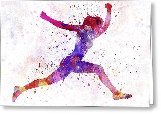 Woman Runner Running Jumping Shouting Greeting Card