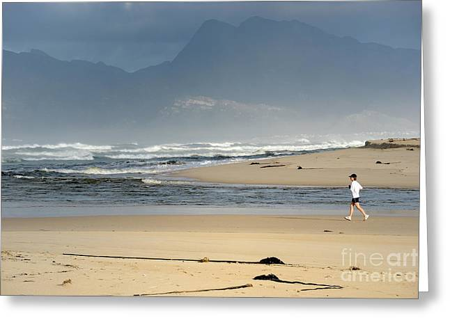 Jogging Greeting Cards - Woman running in the morning by Flamingo lake estuary Greeting Card by Sami Sarkis