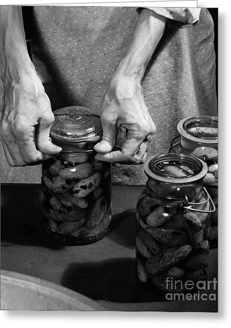 Woman Sealing Pickle Jar, C.1950s Greeting Card by H. Armstrong Roberts/ClassicStock