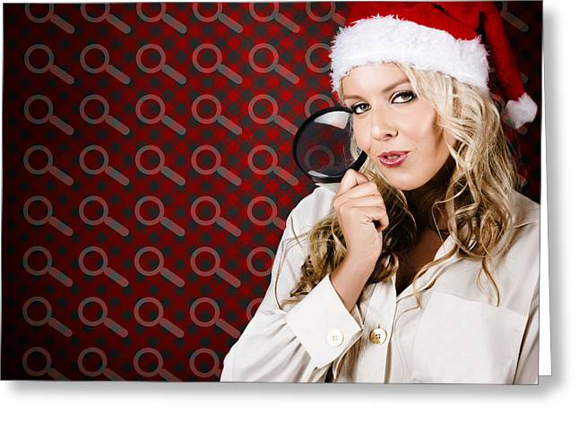Woman Searching When Christmas Present Shopping Greeting Card