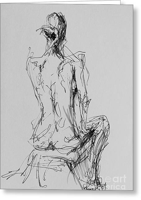 Woman Seated Greeting Card by Robert Yaeger