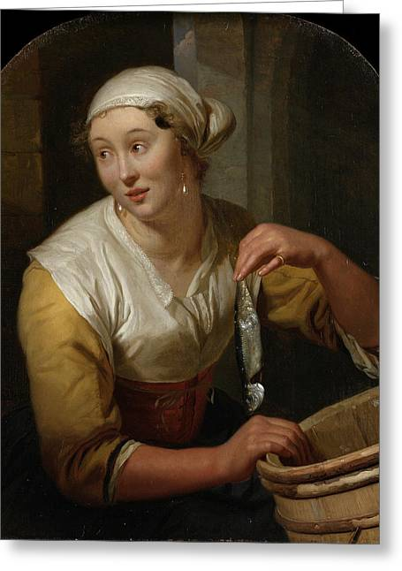 Woman Selling Herring Greeting Card by Godfried Schalcken