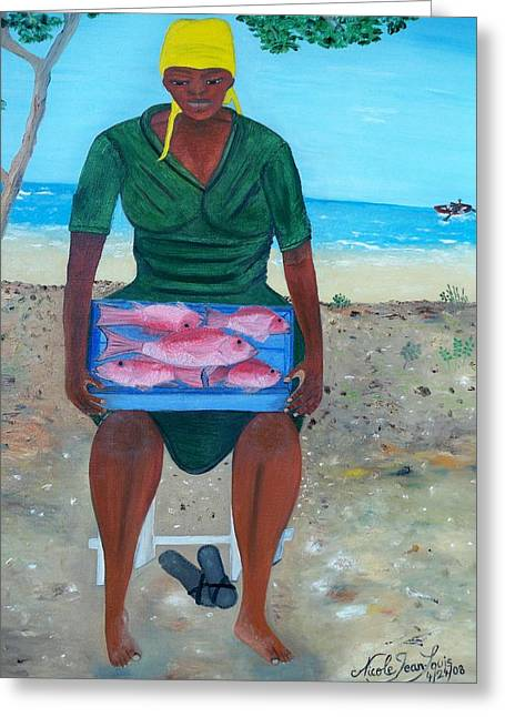 Greeting Card featuring the painting Woman Selling Red Snapper by Nicole Jean-louis