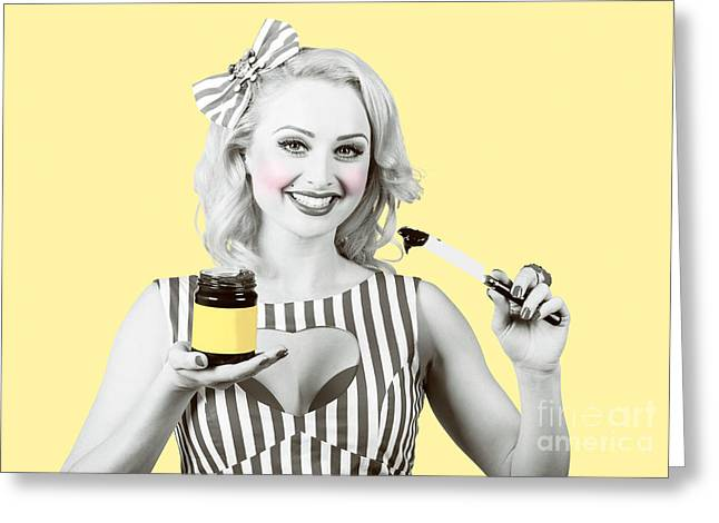 Woman Serving Retro Product. Vintage Advertisement Greeting Card by Jorgo Photography - Wall Art Gallery